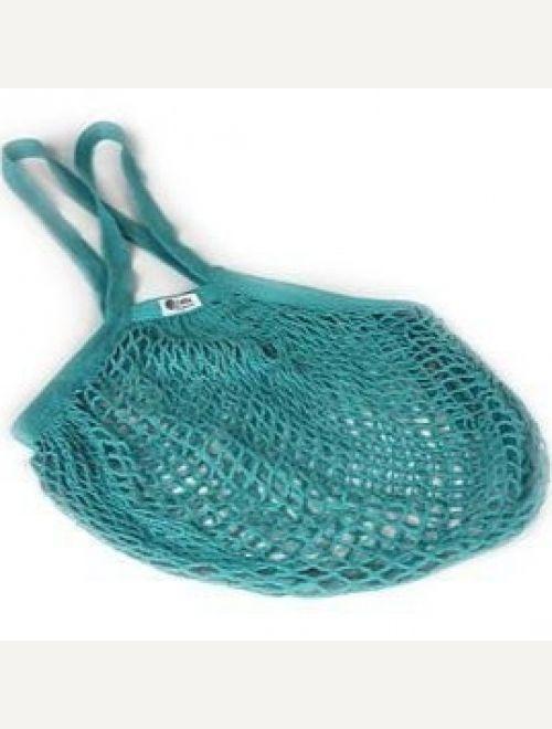 Пазарска чанта едра мрежа с дълга дръжка - тюркоаз