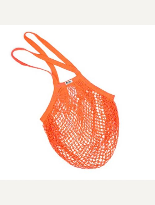 Пазарска чанта едра мрежа с дълга дръжка - мандарина