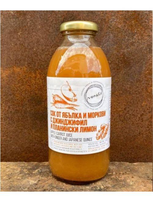 Био сок от ябълка, морков, планински лимон и джинджифил