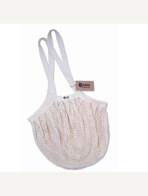 Пазарска чанта ситна мрежа с дълга дръжка - натурална