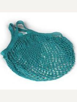 Пазарска чанта едра мрежа с къса дръжка - тюркоаз