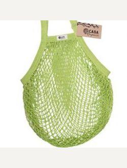 Пазарска чанта едра мрежа с дълга дръжка - лайм