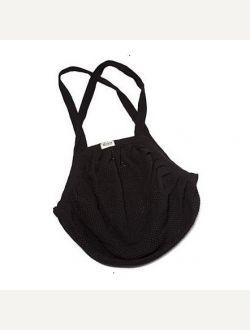 Пазарска чанта ситна мрежа с дълга дръжка - черна